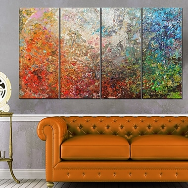 Board Stained Abstract Art, Abstract Metal Wall Art, 48x28, 4 Panels, (MT6548-271)