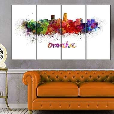 Omaha Skyline Cityscape Metal Wall Art, 48x28, 4 Panels, (MT6552-271)