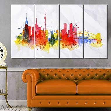 Moscow Skyline Cityscape Metal Wall Art, 48x28, 4 Panels, (MT6556-271)