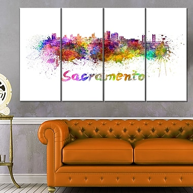 Sacramento Skyline Cityscape Metal Wall Art, 48x28, 4 Panels, (MT6558-271)