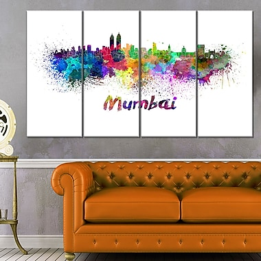 Mumbai Skyline Cityscape Metal Wall Art, 48x28, 4 Panels, (MT6559-271)