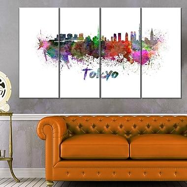 Art mural en métal, paysage urbain, ligne d'horizon de Tokyo, 48 x 28, 4 panneaux (MT6562-271)