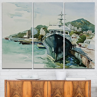 Yacht in Port Yalta Landscape Metal Wall Art, 36x28, 3 Panels, (MT6565-36-28)