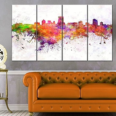 Milwaukee Skyline Cityscape Metal Wall Art, 48x28, 4 Panels, (MT6568-271)