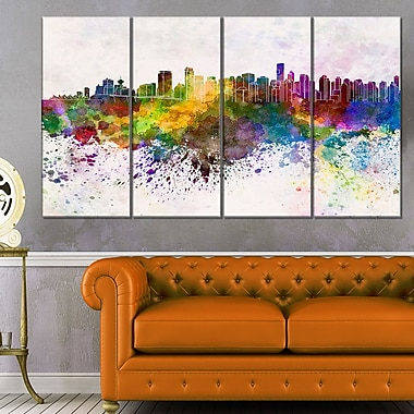 Vancouver Skyline Cityscape Metal Wall Art, 48x28, 4 Panels, (MT6570-271)