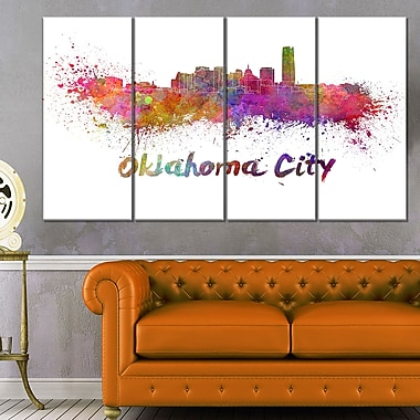 Oklahoma Skyline Cityscape Metal Wall Art, 48x28, 4 Panels, (MT6571-271)