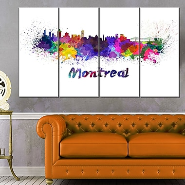 Montreal Skyline Cityscape Metal Wall Art, 48x28, 4 Panels, (MT6573-271)