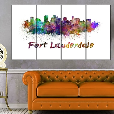 Fort Lauderdale Skyline Cityscape Metal Wall Art, 48x28, 4 Panels, (MT6574-271)