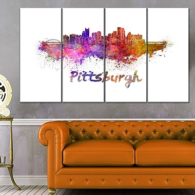 Pittsburgh Skyline Cityscape Metal Wall Art, 48x28, 4 Panels, (MT6575-271)