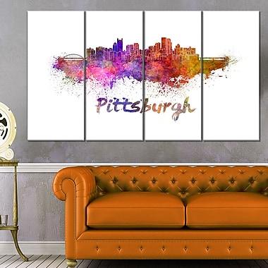 Art mural en métal, paysage, horizon urbain de Pittsburgh, 48 x 28, 4 panneaux (MT6575-271)