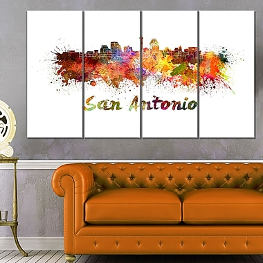 San Antonio Skyline Cityscape Metal Wall Art, 48x28, 4 Panels, (MT6576-271)