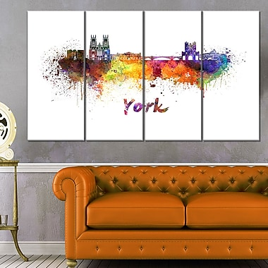 York Skyline Cityscape Metal Wall Art, 48x28, 4 Panels, (MT6579-271)