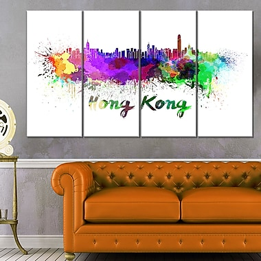 Hong Kong Skyline Cityscape Metal Wall Art, 48x28, 4 Panels, (MT6587-271)