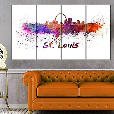 St Louis Skyline Cityscape Metal Wall Art, 48x28, 4 Panels, (MT6588-271)