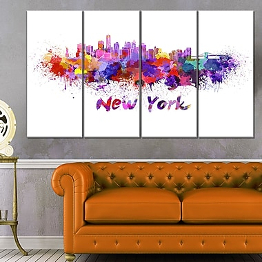New York Skyline Cityscape Metal Wall Art, 48x28, 4 Panels, (MT6592-271)