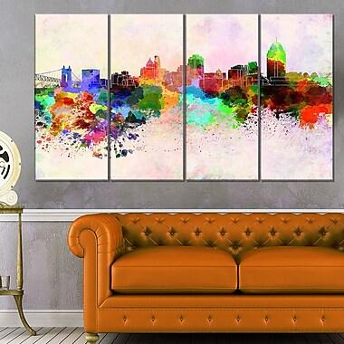 Cincinnati Skyline Cityscape Metal Wall Art, 48x28, 4 Panels, (MT6595-271)