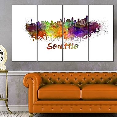 Seattle Skyline Cityscape Metal Wall Art, 48x28, 4 Panels, (MT6596-271)