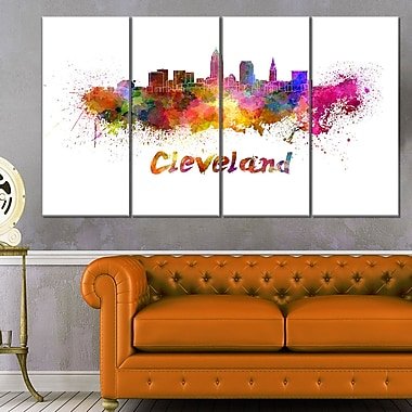 Cleveland Skyline Cityscape Metal Wall Art, 48x28, 4 Panels, (MT6597-271)