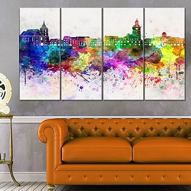 Brasov Skyline Cityscape Metal Wall Art, 48x28, 4 Panels, (MT6600-271)
