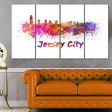 Jersey City Skyline Cityscape Metal Wall Art, 48x28, 4 Panels, (MT6601-271)