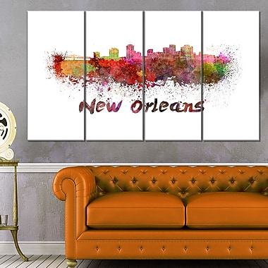 Art mural en métal, paysage urbain, ligne d'horizon de La Nouvelle-Orléans, 48 x 28, 4 panneaux (MT6602-271)