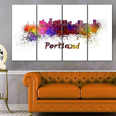 Portland Skyline Cityscape Metal Wall Art, 48x28, 4 Panels, (MT6605-271)