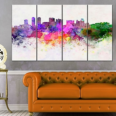 Colombo Skyline Cityscape Metal Wall Art, 48x28, 4 Panels, (MT6607-271)