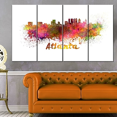 Atlanta Skyline Cityscape Metal Wall Art, 48x28, 4 Panels, (MT6608-271)
