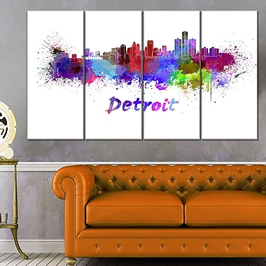 Detroit Skyline Cityscape Metal Wall Art, 48x28, 4 Panels, (MT6611-271)