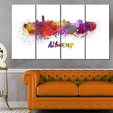 Albany Skyline Cityscape Metal Wall Art, 48x28, 4 Panels, (MT6614-271)