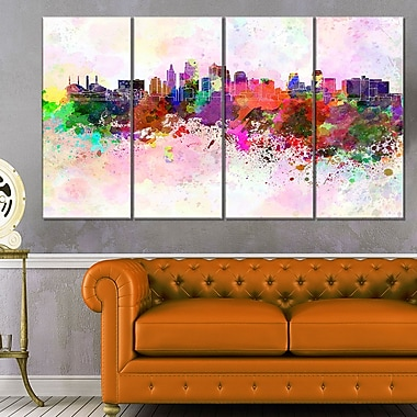 Kansas City Skyline Cityscape Metal Wall Art, 48x28, 4 Panels, (MT6617-271)