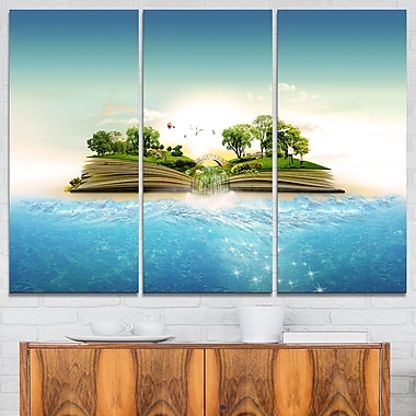 Magical Book about Nature Contemporary Metal Wall Art, 36x28, 3 Panels, (MT6623-36-28)