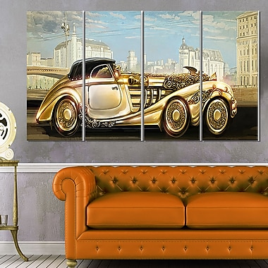 Futuristic Gold Machine Digital Metal Wall Art, 48x28, 4 Panels, (MT6627-271)