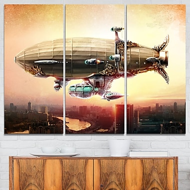 Dirigible Balloon in Sky over City Metal Wall Art