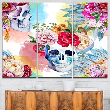 Ethnic Skull with Flowers Floral Metal Wall Art, 36x28, 3 Panels, (MT6631-36-28)