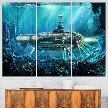 Fantastic Submarine Digital Metal Wall Art, 36x28, 3 Panels, (MT6641-36-28)
