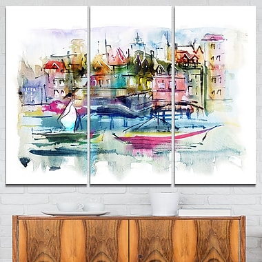 Houses and Boats Abstract Landscape Metal Wall Art, 36x28, 3 Panels, (MT6651-36-28)