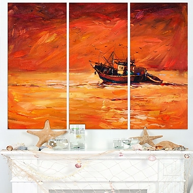 Fishing Boat in Red Hue Seascape Panting Metal Wall Art, 36x28, 3 Panels, (MT7624-36-28)