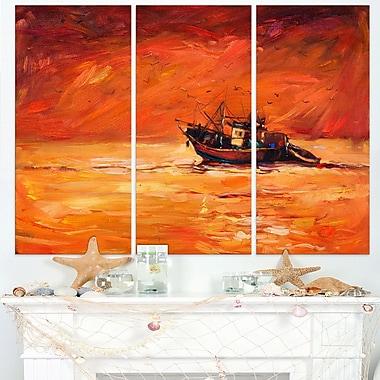 Paysage peint d'un bateau de pêche avec teinte rouge, art mural en métal, 36 x 28, 3 panneaux, (MT7624-36-28)