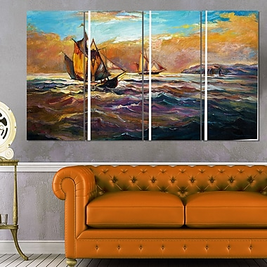 Boats in Roaring Sea Seascape Painting Metal Wall Art, 48x28, 4 Panels, (MT7626-271)