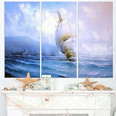 Vessel in Blue Sea Seascape Painting Metal Wall Art, 36x28, 3 Panels, (MT7627-36-28)
