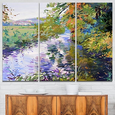 Fall in Amazing Colours Landscape Painting Metal Wall Art, 36x28, 3 Panel, (MT7629-36-28)