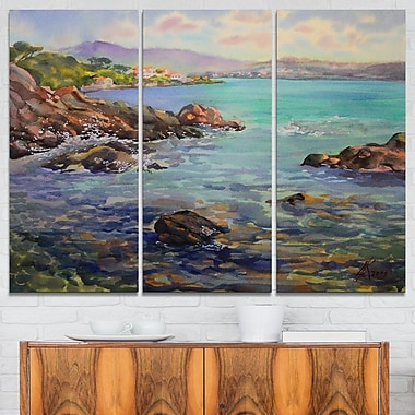 Cote d'Azur France Landscape Painting Metal Wall Art, 36x28, 3 Panels, (MT7630-36-28)