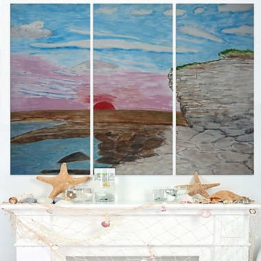 Sunset Seashore Seascape Painting Metal Wall Art
