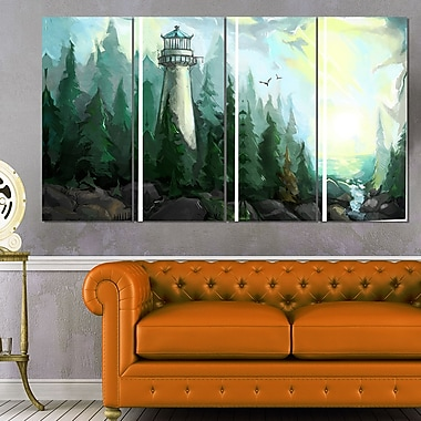 Landscape with River and Trees Modern Metal Wall Art, 48x28, 4 Panels, (MT7635-271)
