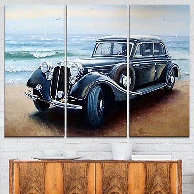 Retro Car on Sea Shore Car Painting Metal Wall Art, 36x28, 3 Panels, (MT7637-36-28)