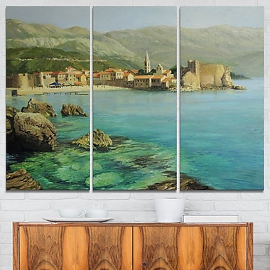 Bay Near Old Budva Landscape Painting Metal Wall Art, 36x28, 3 Panels, (MT7638-36-28)