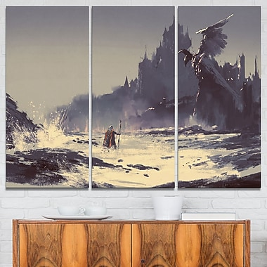 Dark Fantasy Castle Landscape Painting Metal Wall Art, 36x28, 3 Panels, (MT7639-36-28)