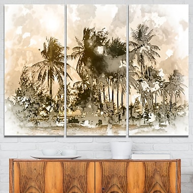 Palmiers foncés lors d'un coucher de soleil, art mural en métal, 36 x 28, 3 panneaux (MT7640-36-28)