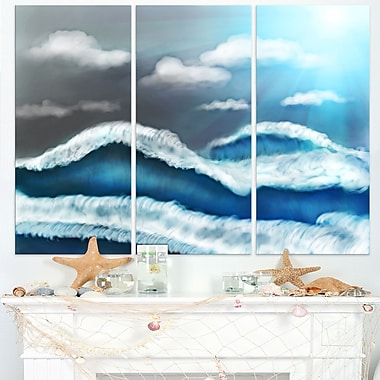Blue Sky with Clouds Landscape Metal Wall Art, 36x28, 3 Panels, (MT7641-36-28)